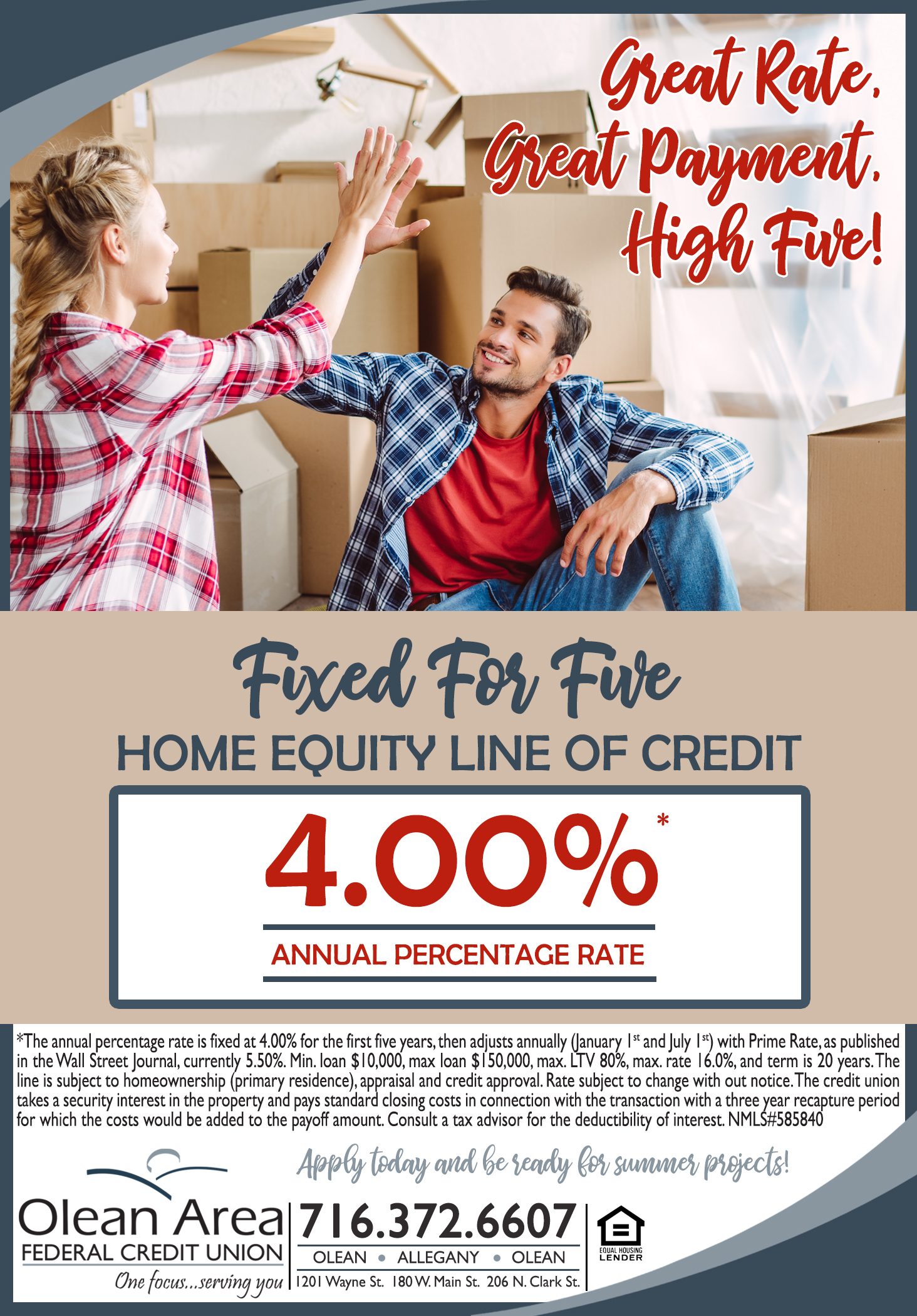 Fixed For Five Home Equity Line Ad