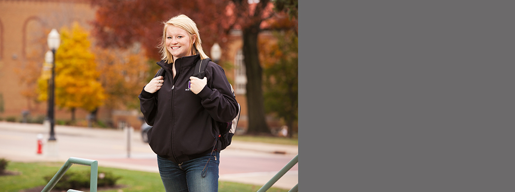 College girl with backpack